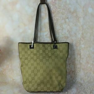 Aut Gucci Green Brown Monogram Canvas Bag